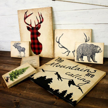 Woodland Eclectic Canvas Print Collection - Nursery Art - Woodland - Lodge Decor - Cabin - Deer - Lumberjack - Buffalo Plaid - Rustic Decor
