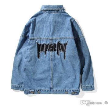 New Propose Tour Denim Jeans Jacket Embroidery Wash Hi-street Jean Jacket Bieber Blue Denim Coats Fashion Brand Men's Jacket
