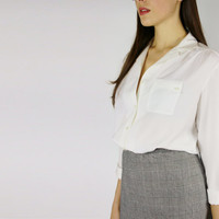 white button down blouse asymmetrical pocket sheer paper thin office casual top sm MEDIUM m