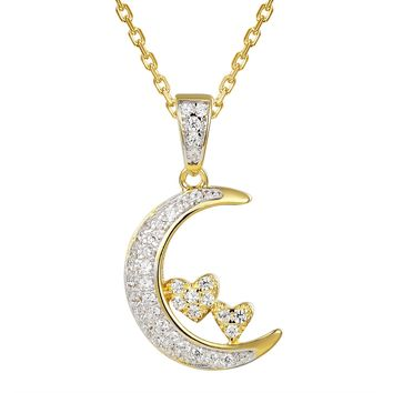 14k Gold Finish Crescent Moon Silver Heart Pendant