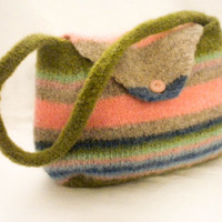 Girls Handmade Felt striped green pink blue purse great gift for a girl play purse