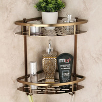 Free shipping Antique Space aluminum Double Wall Corner Shower Shampoo Soap Cosmetic Storage Shelf Bathroom Shelves 9115F