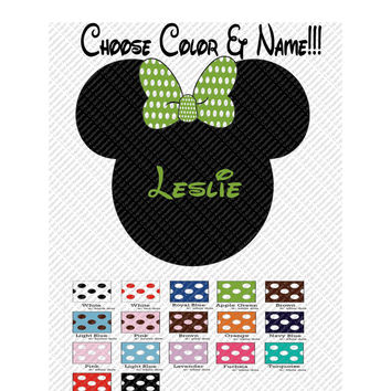 Minnie Mouse Polka Dot Bow You Choose Color & Personalize with a Name Mickey Mouse Head Printable Iron On Transfer Clip Art Tshirts