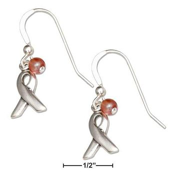 STERLING SILVER BREAST CANCER AWARENESS RIBBON DANGLE EARRINGS WITH PINK GLASS BEAD