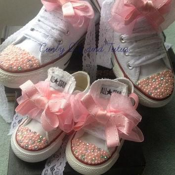 "Mommy and Me ""Bling"" high/low top converse in your choice of color, stone & ribbon sho"