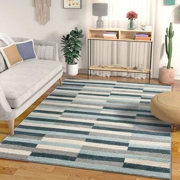 7039 Blue Geometric Contemporary Area Rugs