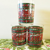Season's Greetings Glasses, Cera Glass Con Cora Christmas Glasses, Christmas Double Old Fashioned Cera Houze Stained Glass Cocktail Glasses