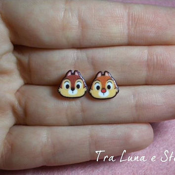Earrings chipmunks Chip 'n' Dale, Disney - cute