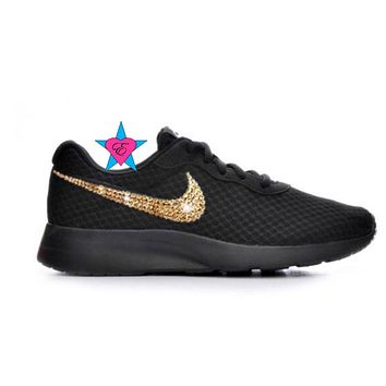 Gold Rhinestone Crystal Little Kid Black Nike Tanjun Sneakers