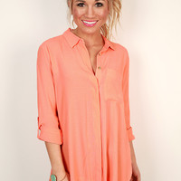 Soho Chic Button Up Top in Coral