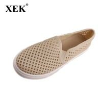 Women Summer shoes Candy colorful hollow out Women sandals Loafers EVA Beach Rainbow Croc Jelly Shoes slip on apricot ST237