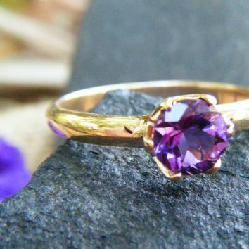 Bright Purple Amethyst in Gold Ring, Radiant Orchid in an Exquisite Gem!