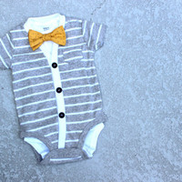 Cardigan and Bow Tie Onesuit Set - Grey with Yellow Dot - Trendy Baby Boy - Perfect for Spring Shower