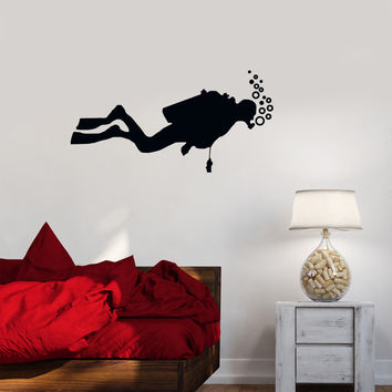 Vinyl Decal Diver Extreme Water Sports Bathroom Decor Wall Stickers Mural (ig2688)