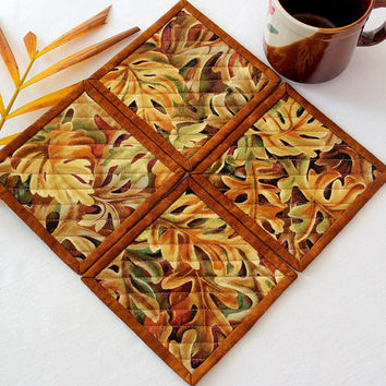 Fall Coasters - Quilted Coasters - Autumn Leaves - Fabric Coasters - Thanksgiving - Set of 4 Coasters