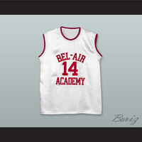The Fresh Prince of Bel-Air Will Smith Bel-Air Academy White Silk Basketball Jersey