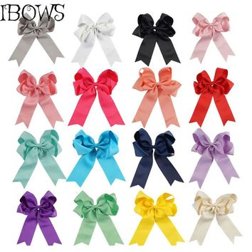 "Big 6"" Solid Ribbon Hair Bow With Clip Long Tail Hairgrips Hair Accessories Dancing Hairpins Headwear For School Girls"