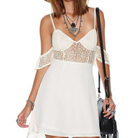 White Strappy Off-Shoulder Sleeveless Lace Cut-Out Mini Chiffon Dress