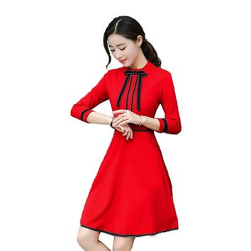red black Dresses patchwork bow lace Crew Neck long sleeve pleated casual Dress High quality cotton chiffon cute lady Mermaid