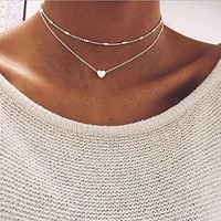 RscvonM Brand Stella DOUBLE HORN PENDANT HEART NECKLACE GOLD Dot LUNA Necklace Women Phase Heart Necklace ping