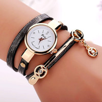 77 Fashion Summer Style PU Leather Bracelet Watches Wristwatch Women Dress Watches Relogios Femininos
