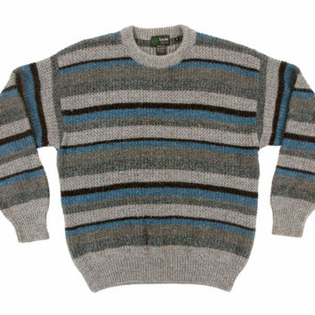 Vintage Striped Sweater - Gray Black Blue Stripe 80s Pullover - Men's Size Medium Med M