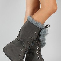 Bumper Sofia-40A Fur Pom Pom Lace Up Knee High Boot