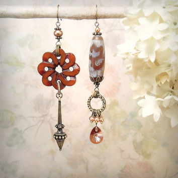 Serpentine - Asymmetric Mismatch Earrings OOAK, Rustic Earthy Tribal Assemblage, Caramel Cognac Auburn, Autumn Colors Fall Wedding, Pendulum