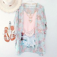 Floral Print Chiffon Blouse Beach Cover Up