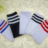 8pairs/lot Striped Kid Sport Athletic Socks Soccer Socks Student Knee High Socks Leg Warmer = 1714240388