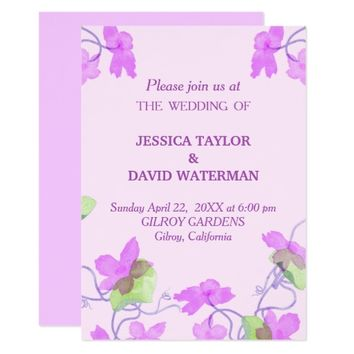 Lilac Lavender Flowers Wedding Invitation Card