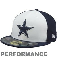 New Era Dallas Cowboys Sideline 59FIFTY Performace Fitted Hat - White/Navy Blue