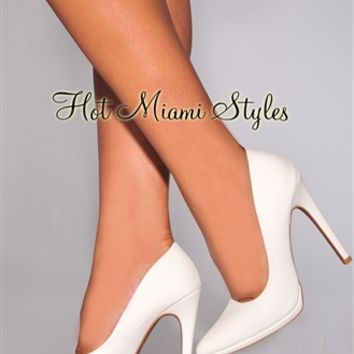 White Snake Textured Pointed Toe High Heel Pumps