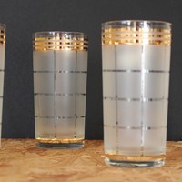 Culver Frosted and Gold Tumbler Glasses, Set of Four