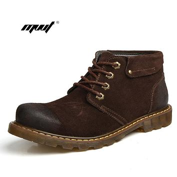 Men Ankle Boots Genuine Leather Warm Winter Boots Men Brand Casual Cowboy Snow Boots For Men Fashion Winter Shoes
