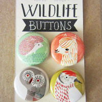 WildLife Buttons or Magnet Pack/Alpaca & Friends
