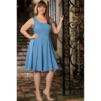 Blue Stretchy Sleeveless Skater Fit & Flare Sexy Dress Women Plus Size