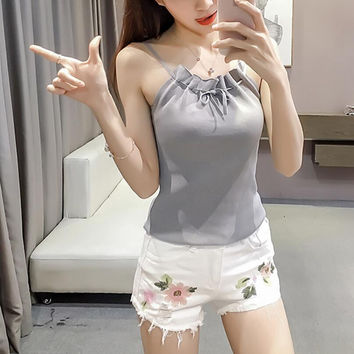 New Summer fashion Women Solid Color weave bandage sleeveless T-shirt -0706
