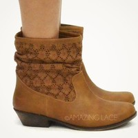 Brown Booties Urban Western Cowgirl Faux Leather & Lace Tan Crochet Ankle Boots