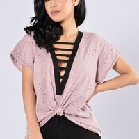 Tied Around You Top - Mauve/Black
