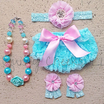 Aqua and Pink Lace Baby Bloomer Outfit - Pick your Accessories: Lace Bloomers, Headband, Barefoot Sandals and Chunky Necklace - Sized 0-24m