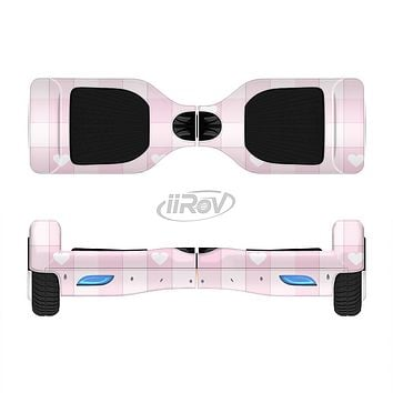 The Light Pink Heart Plaid Full-Body Skin Set for the Smart Drifting SuperCharged iiRov HoverBoard