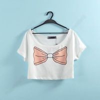 Cute Crop Top Tee Pink Bow Pinup Girl Kawaii wildfox Style Sailor Scout Blouse