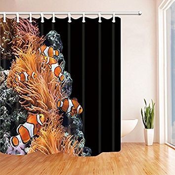 NYMB Sea Anemone and Clown Fish in Marine Aquarium Shower Curtain, Mildew Resistant Polyester Fabric Bathroom Decorations, Bath Curtains Hooks Included, 69X70 inches, Black(Multi24)