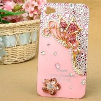 3D Bling Pink Red Butterfly Crystal Bow Case Cover for Apple IPhone 4 4S