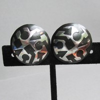 Modernist Sterling Silver on Black Enameled Copper Pierced Button Vintage Earrings