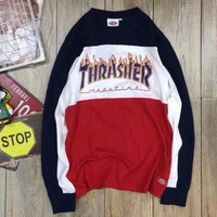 Thrasher X Dickies Fashion Unisex Personality Flame Letter Print Round Collar Sport Sweater Sweatshirt Pullover Top Red