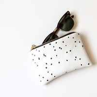 Confetti Zipper Pouch, Black and White Purse, a Versatile Screen Printed Dots Wallet or Cosmetic Bag