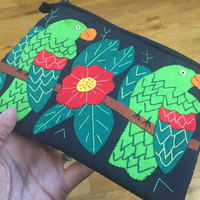 Green Parrots Wristlet, Cute Birds Clutch Purse, Quetzal Birds Handmade Boho Pouch, Makeup Bag, Wristlet Purse Zipper Pouch Central American