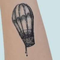 Hot Air Balloon Temporary Tattoo, Tattoo Temporary, Black, Vintage Style Art, Birthday Present, Mothers Day, Small Temporary Tattoo